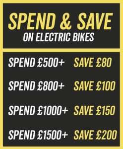 Spend and Save - Save up to £200 on Electric Bikes @ Halfords
