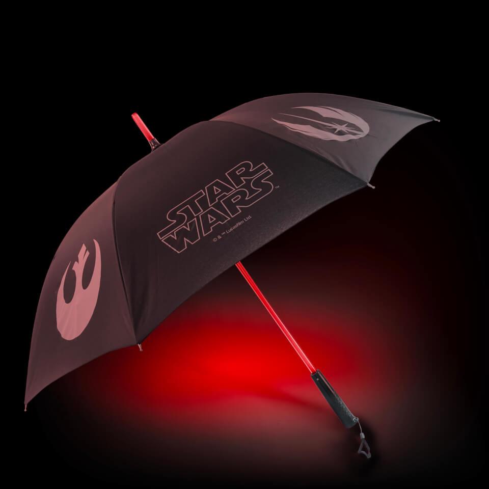 Star Wars Official Light up Lightsaber Umbrella with Torch Handle Dark Side & Light Side available £17.99 (+£1.99 Postage) @ Zavvi
