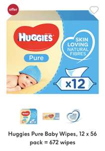 Huggies Pure Baby Wipes, 12 x 56 pack = 672 wipes £7 + £3.50 p&p at Boots