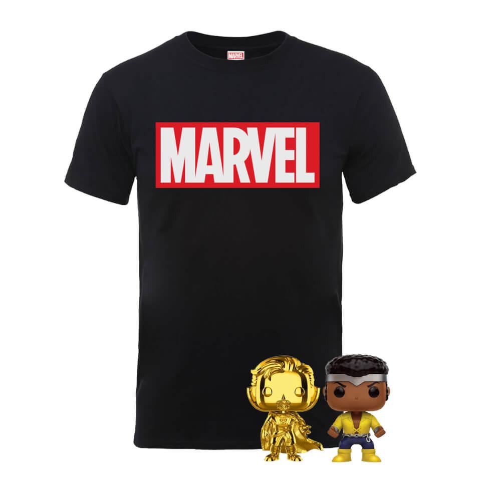 The Marvel Pop! & T-Shirt Bundle Men's T-Shirt - Black £14.99 + £1.99 delivery at Zavvi