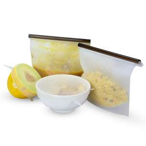 6 Reusable Food Storage Bags + 6 Lids - £9.94 / New Accounts £9.24 Delivered Using Code @ Roov