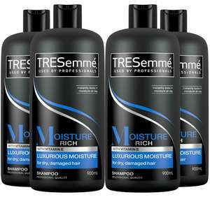 (4 x 900 ml) TRESemme Shampoo for Dry, Damaged Hair, with Vitamin E, Family Pack (£10.34 S&S) - £10.88 (Prime) / +4.49 (non prime) @ Amazon