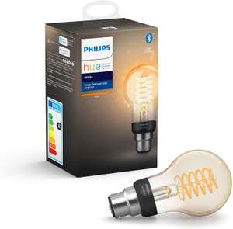 Philips Hue White Filament Single Smart LED Bulb [B22 Bayonet Cap] with Bluetooth £14.99 (Prime) + £4.49 (non Prime) at Amazon