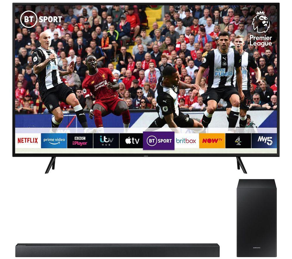 "Samsung QE65Q60R (2019) QLED HDR 4K Ultra HD Smart TV, 65"" with TVPlus/Freesat HD + FREE HW-R450 SOUNDBAR + FREE £25 NETFLIX CODE £899 @ Box"