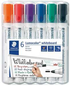 STAEDTLER 351WP6 Lumocolour Whiteboard Marker with Bullet Tip, Multicolor , Pack of 6 - £4.54 (Prime) / £9.03 (Non Prime) @ Amazon