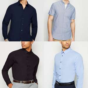 Buy 1 Get 1 Half Price On Men's Shirts - EG: Black Long Sleeve Button Up Poplin Shirt - Two For £21.47 Delivered @ New Look