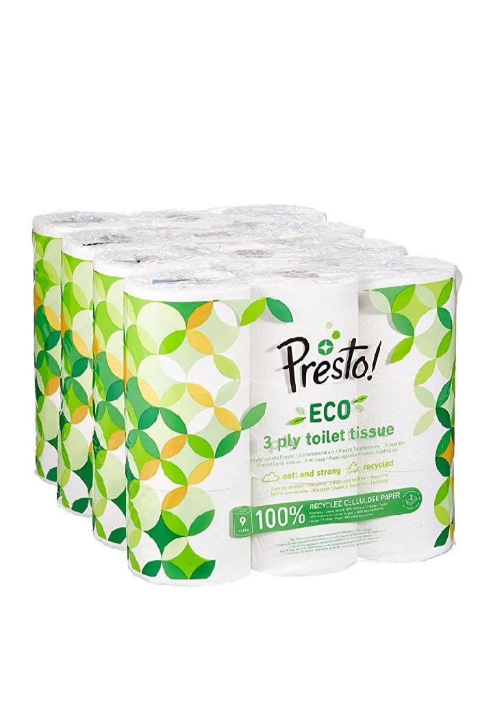 Amazon Brand - Presto! 3-Ply ECO Toilet Roll , 36 Rolls (4 x 9 x 200 sheets) £17.09 / £21.58 Non-prime @ Amazon