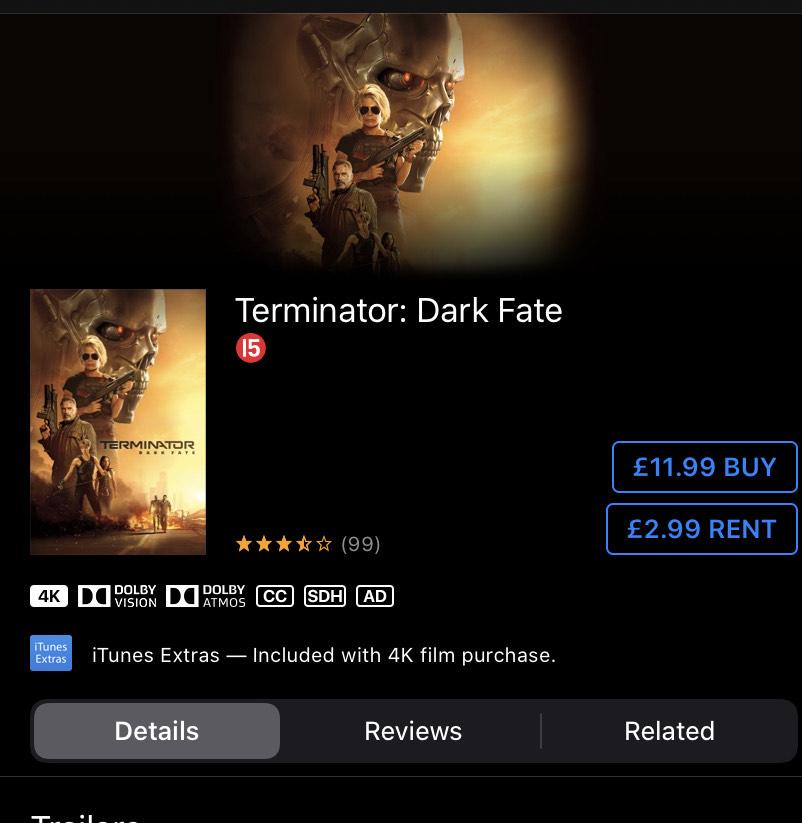 Terminator Dark Fate £2.99 iTunes rental