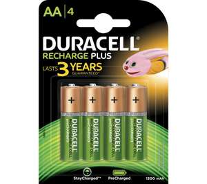 DURACELL AA NiMH Rechargeable Batteries - Pack of 4 £3.99 delivered @ Currys eBay