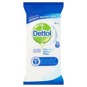 Dettol Antibacterial Large Cleansing Surface Wipes (30 pack) 95p @ Asda
