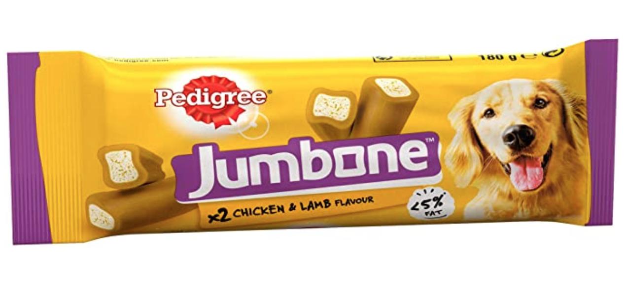 Pedigree Jumbone - Medium Dog Treats with Chicken and Lamb, 24 Chews £1.65 prime / £6.14 non prime @ Amazon