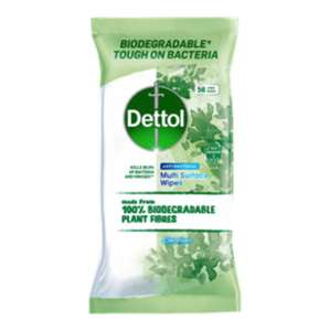 Dettol Antibacterial Biodegradable Multi Surface Large Cleanser Wipes / 56 wipes / In Stock - £2 @ Asda