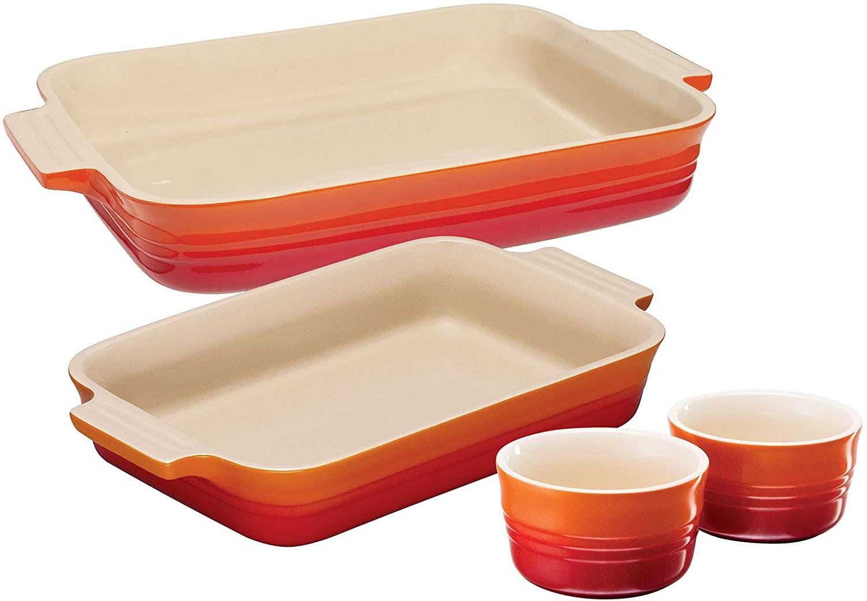 Le Creuset 2 Classic Rectangular Dishes and Set of 2 Ramekins, Volcanic, Stoneware - £36.08 delivered @ Amazon