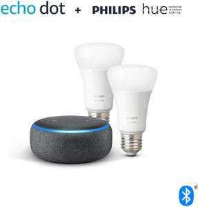 Echo Dot (3rd Gen) + Philips Hue Twin Pack LED (E27/B22) - £39.99 / Dot (3rd Gen) + Hue Ambiance Twin Pack LED (E27/B22) £64.99 @ Amazon