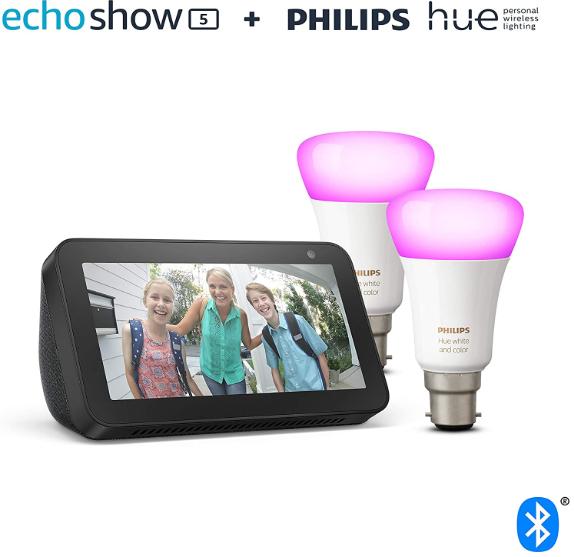 Amazon Echo Show 5 (Black/White) + Philips Hue White & Colour Ambiance Smart Bulb Twin Pack LED (B22/E27) - £89.99 @ Amazon