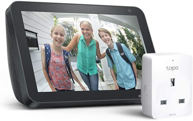 Echo Show 8, Charcoal fabric/ Sandstone Fabric + Tapo P100 Smart Plug, Works with Alexa - £67.99 Delivered @ Amazon UK