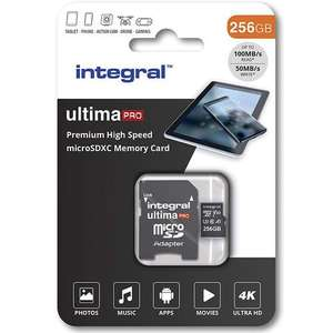 Integral 256GB UltimaPRO V30 Premium Micro SD Card (SDXC) UHS-I U3 + Adapter - 100MB/s £27.99 at MyMemory