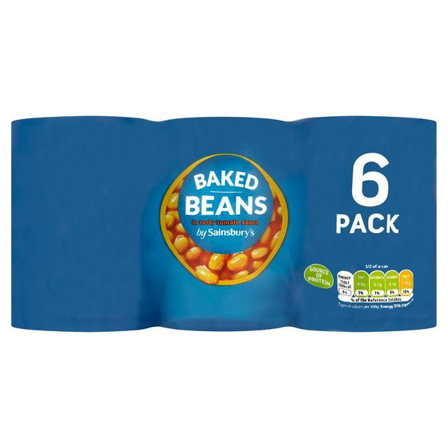 Sainsburys baked beans 6 x 400g tins £1.50 @ Sainsbury's