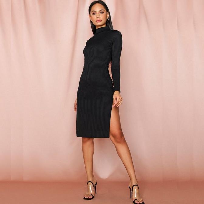 Jumbo rib high neck split midi dress £6.40 with Next Day delivery @ MissPap
