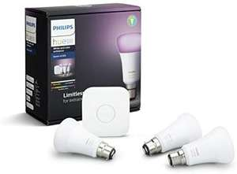 Philips Hue White and Colour Ambiance Starter Kit: Smart Bulb 3x Pack LED [B22 Bayonet Cap] Includes, Bridge £119.99 @ Amazon