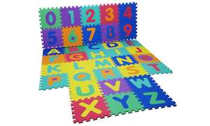 Kids' Foam 36-Piece Alphabet and Numbers Puzzle Play Mats £8.98 Delivered From Groupon