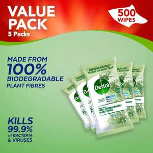 Dettol Wipes Biodegradable Antibacterial Multi Surface Cleaning, 5 Packs of 100 = 500 Wipes - £8.99 delivered (+£4.49 Non Prime) @ Amazon