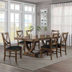 Bayside Furnishings Lakemont Solid Extending Dining Table + 6 Cross Back Chairs - £549 Delivered @ Costco