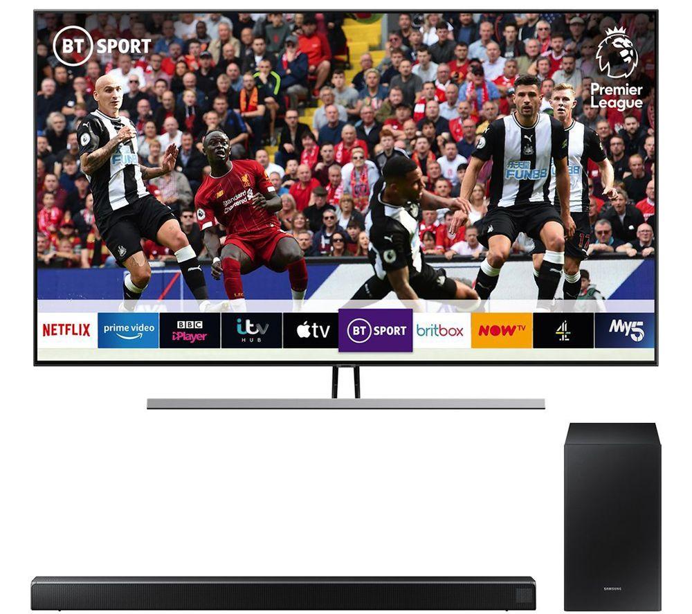 "SAMSUNG QE55Q85RATXXU 55"" Smart 4K Ultra HD HDR QLED TV with Bixby & HW-R550 2.1 Wireless Sound Bar Bundle 5 Year Guarantee £959 at Hughes"