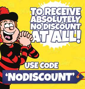 Use code NODISCOUNT @ Beano Shop for no discount at all & a FREE whoopee cushion keyring with any purchase