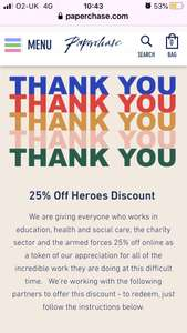 25 % off for Workers in the Education sector, NHS, Charities and Armed forces @ Paperchase