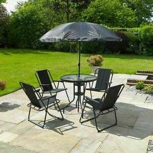 6 Piece Garden Patio Table 4 Chairs and Parasol £67.99 with Code From wido-uk / eBay