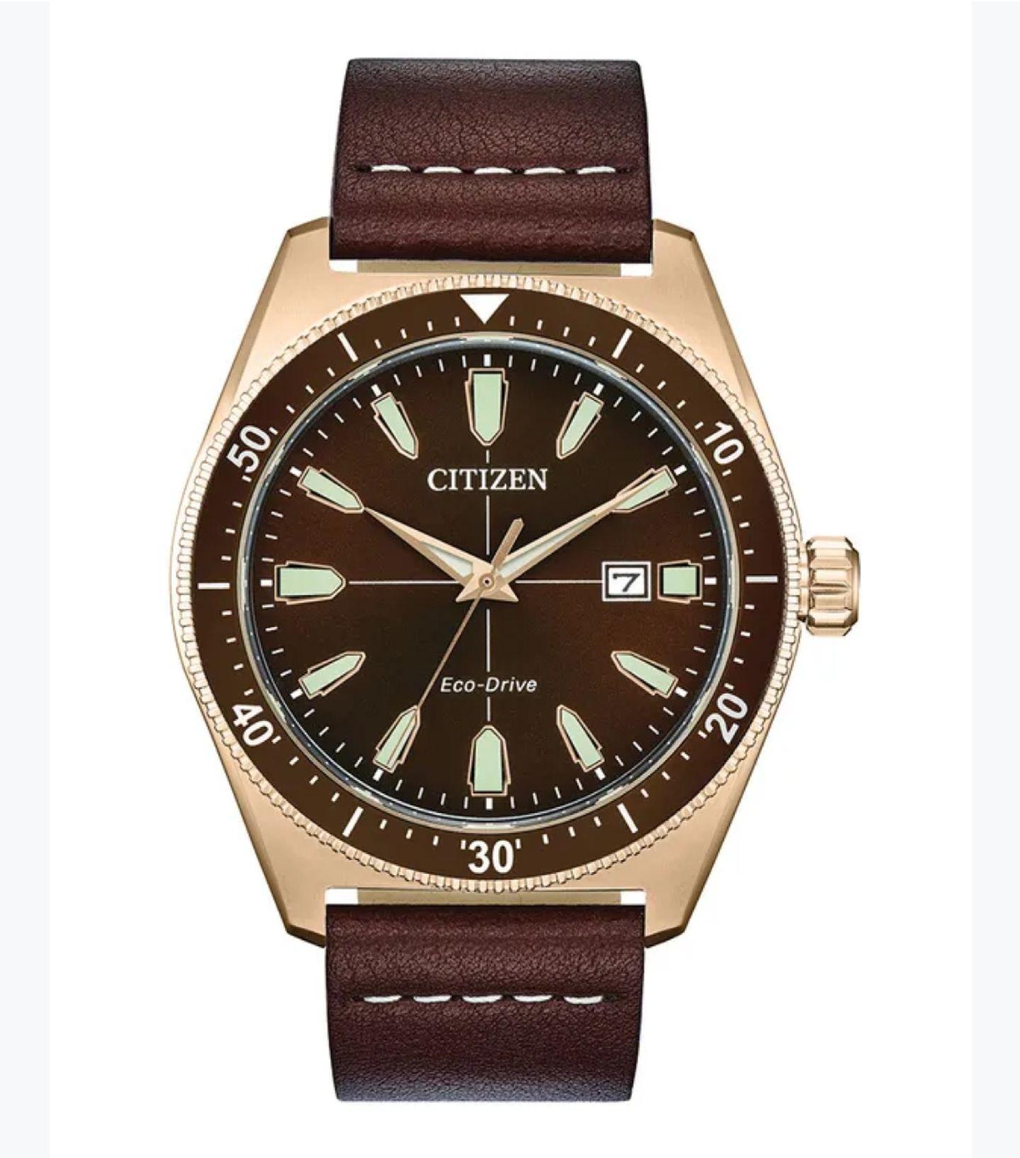 Citizen Men's Eco Drive Black Dial Brown Leather Strap Watch £109 @ H Samuel