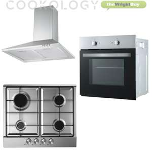 Cookology Fan Forced Oven, Stainless Steel Gas Hob & 60cm Chimney Hood Pack £254.99 Delivered @ thewrightbuyltd / eBay
