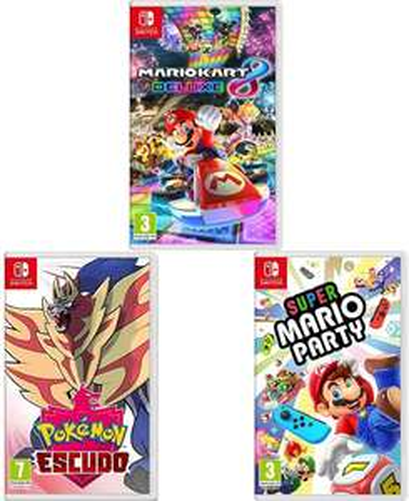 Mario Kart 8 Deluxe + Pokémon: Shield + Super Mario Party (Nintendo Switch) £96.45 Delivered (More in OP) @ Amazon Spain