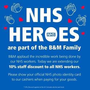 NHS 10% discount @ B&M - Excludes alcohol & kiosk