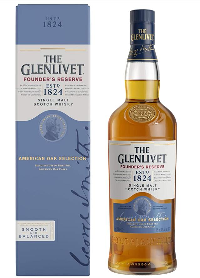The Glenlivet Founder's Reserve Single Malt Scotch Whisky, 70 cl for £22 at Amazon