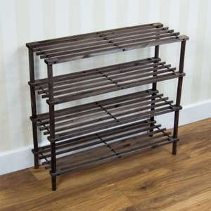 4 Tier Slated Shoe Rack Oak Wooden Storage Stand £13.95 Delivered @ eBay / homediscountltd