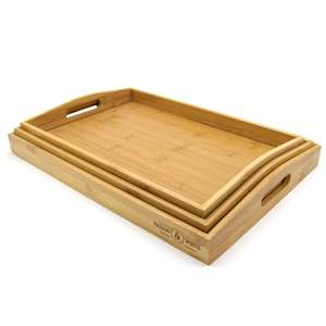 Set of 3 Bamboo Serving Trays £10.99 Delivered Using Code @ Roov