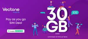 Vectone - 30GB Data, Unlimited Calls/Text for £10 a month. No contract and uses EE Network, 3G connection
