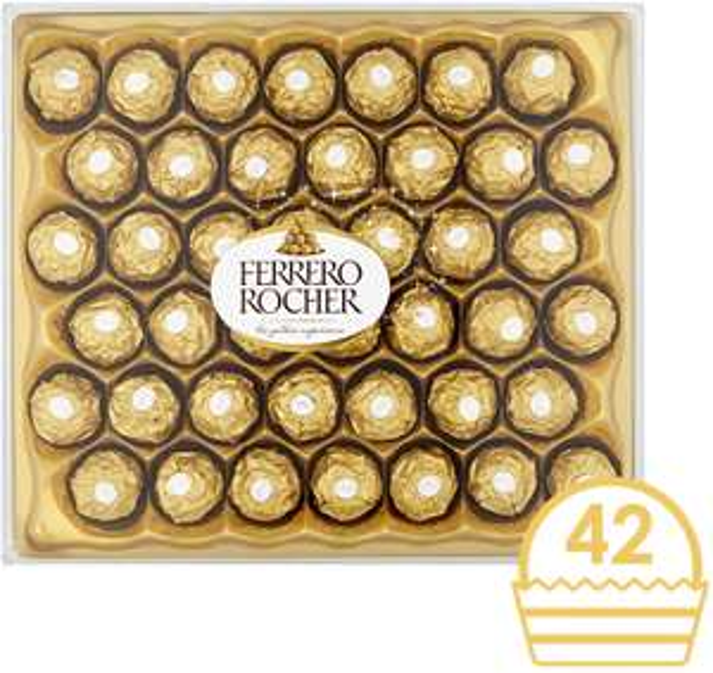 Ferrero Rocher Chocolate Gift Set, Hazelnut and Milk Chocolate Pralines, Box of 42 Pieces £12 + £4.49 NP at Amazon