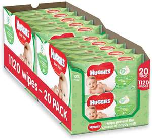 Huggies Natural Care Baby Wipes,2 x Pack of 10 x 56 Natural Baby Wipes (Total 1120 Wipes) for £15 (Prime) / £19.49 (Non Prime) @ Amazon