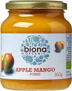 BIONA Organic Apple & Mango Puree 360g £1.69 Minimum order quantity: 5 £8.45 Total / +£4.49 Non-prime @ Amazon.