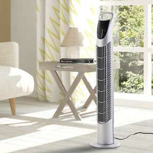 Tower Fan Oscillating 3 Speeds 3 Winds 40W w/ RC Timer Quiet - Silver £29.74 with code - eBay / 2011homcom