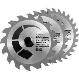 3x Toolpak TCT Circular Saw Blades 165 x 30mm £12.03 delivered @ Toolstation