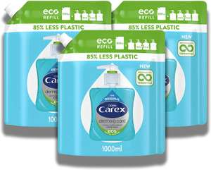 Carex Antibacterial Hand Wash Liquid Soap REFILL 1000ml, Multipack of 3 x 1L (equiv 12 bottles) - £8.55 @ Amazon (+£4.49 non-prime)