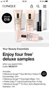Clinique free samples with orders over £40