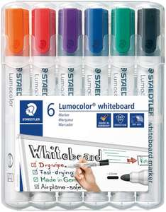 STAEDTLER 351WP6 Lumocolour Whiteboard Marker with Bullet Tip, Multicolor , Pack of 6 £4.68 + £4.49 NP @ Amazon