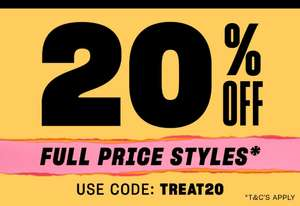 20% off Full price items with code + Free delivery @ Schuh