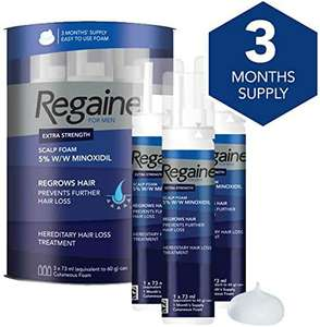Regaine For Men Extra Strength Scalp Foam 3 x 73ml £35 at Weldricks Pharmacy