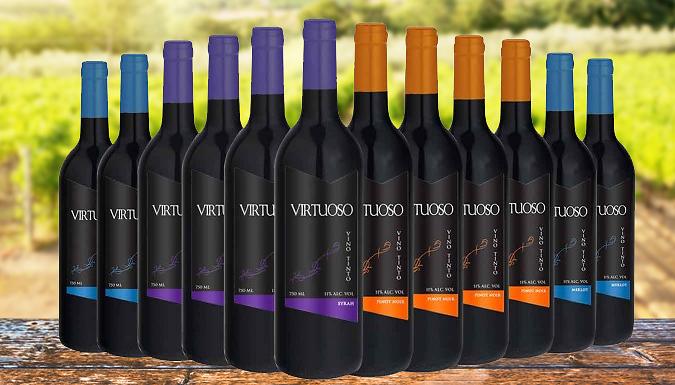12 Bottles of Luxury Virtuoso Red Wine - Merlot, Sauvignon, Pinot Noir & Syrah £44.98 delivered at Go Groupie